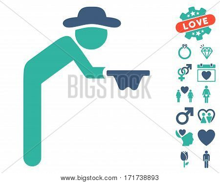 Gentleman Beggar pictograph with bonus valentine graphic icons. Vector illustration style is flat iconic cobalt and cyan symbols on white background.