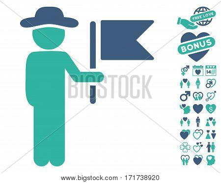 Gentleman Commander pictograph with bonus romantic clip art. Vector illustration style is flat iconic cobalt and cyan symbols on white background.