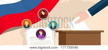Russia democracy political process selecting president or parliament member with election and referendum freedom to vote vector