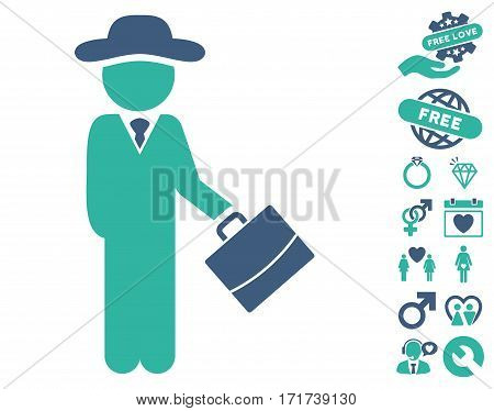 Gentleman Manager pictograph with bonus romantic images. Vector illustration style is flat iconic cobalt and cyan symbols on white background.