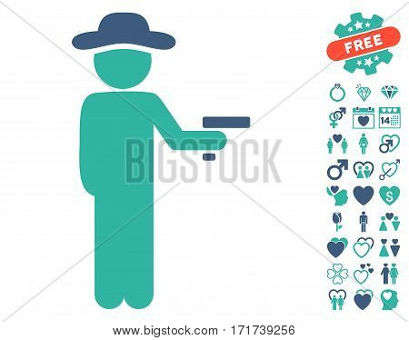 Gentleman Robber pictograph with bonus valentine pictograph collection. Vector illustration style is flat iconic cobalt and cyan symbols on white background.
