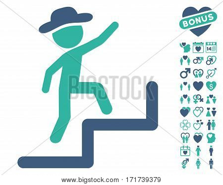Gentleman Steps Upstairs icon with bonus amour design elements. Vector illustration style is flat iconic cobalt and cyan symbols on white background.