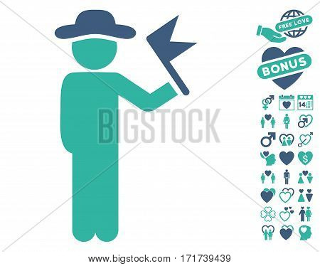 Gentleman With Flag pictograph with bonus amour symbols. Vector illustration style is flat iconic cobalt and cyan symbols on white background.