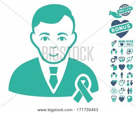 Gentleman With Mourning Ribbon icon with bonus lovely pictures. Vector illustration style is flat iconic cobalt and cyan symbols on white background.