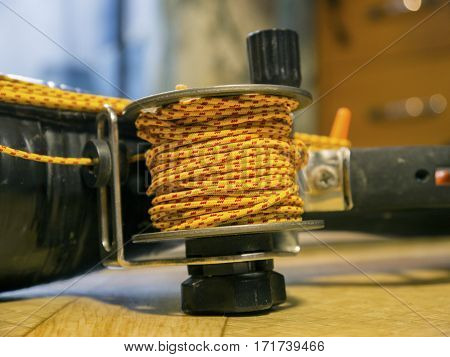 The robust coil with bright rope close up