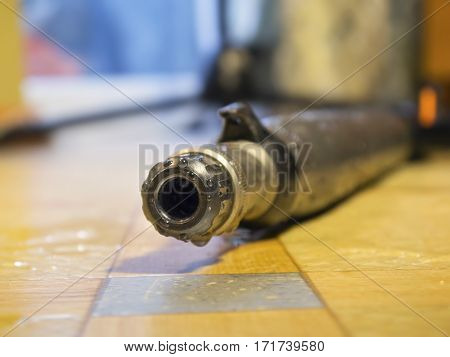 The muzzle for spearfishing gun close up