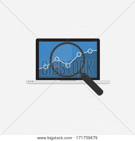 Data Analysis. Laptop With Graph And Magnifying Glass