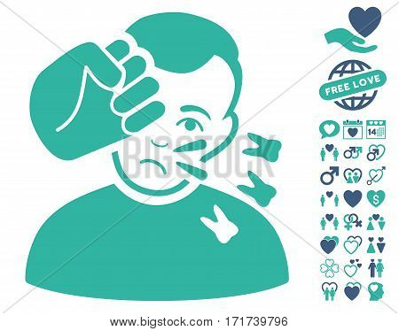 Head Strike icon with bonus amour design elements. Vector illustration style is flat iconic cobalt and cyan symbols on white background.