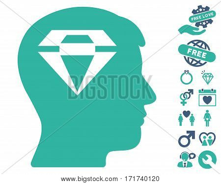 Human Head With Diamond icon with bonus dating symbols. Vector illustration style is flat iconic cobalt and cyan symbols on white background.