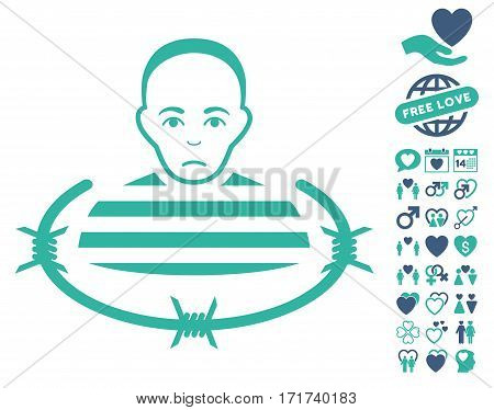 Isolated Prisoner icon with bonus decorative clip art. Vector illustration style is flat iconic cobalt and cyan symbols on white background.