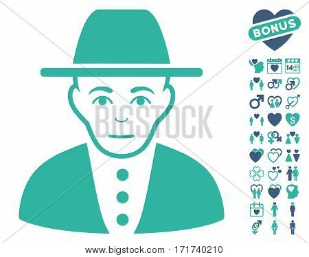 Jew icon with bonus romantic images. Vector illustration style is flat iconic cobalt and cyan symbols on white background.