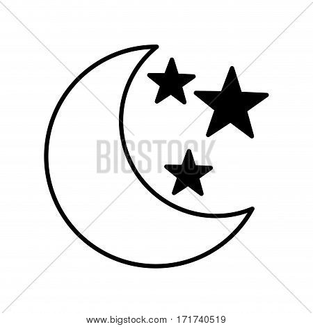 moon with stars isolated icon vector illustration design