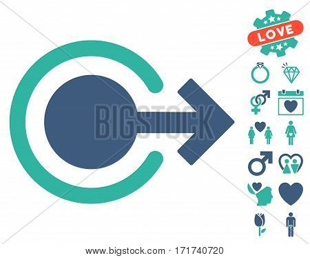 Logout pictograph with bonus decoration icon set. Vector illustration style is flat iconic cobalt and cyan symbols on white background.
