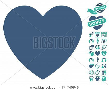 Love Heart icon with bonus amour clip art. Vector illustration style is flat iconic cobalt and cyan symbols on white background.