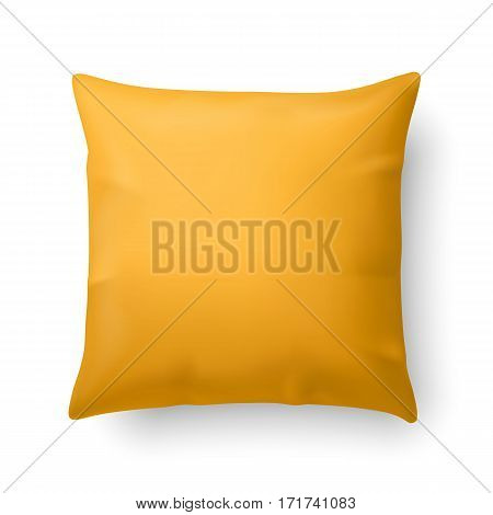 Close Up of a Yellow Pillow Isolated on White Background
