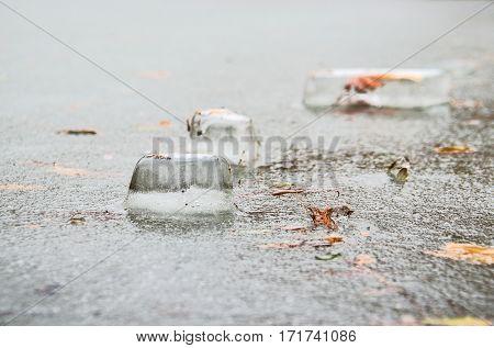 Blocks of ice on frozen lake closeup