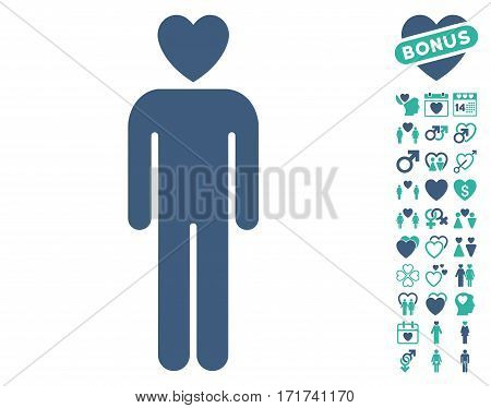 Lover Man icon with bonus amour pictograms. Vector illustration style is flat iconic cobalt and cyan symbols on white background.