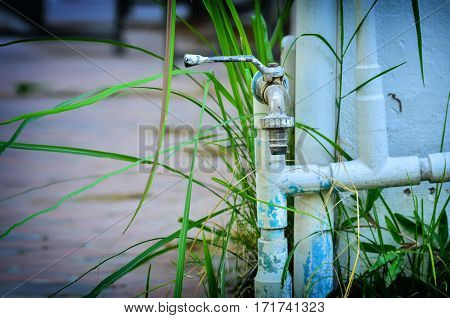 Outside water Faucet and pipe line in public park