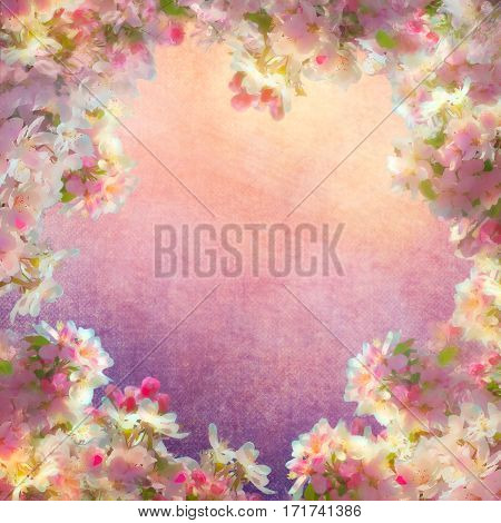 Spring cherry blossom vintage background. Sakura flowers on canvas. Painting style floral art on expressive shabby fabric texture