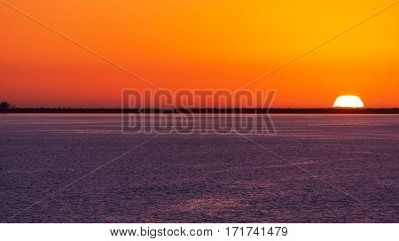 Colorful Tampa Bay sunset with sun halfway set below the horizon