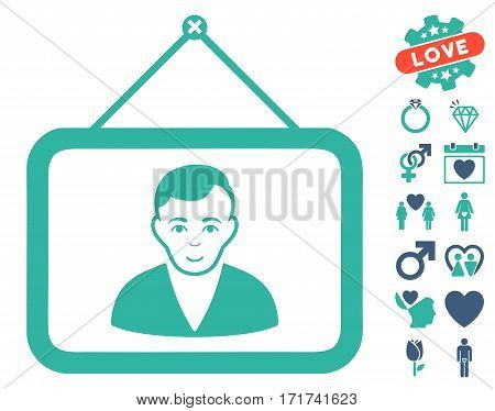 Man Portrait pictograph with bonus marriage pictograph collection. Vector illustration style is flat iconic cobalt and cyan symbols on white background.