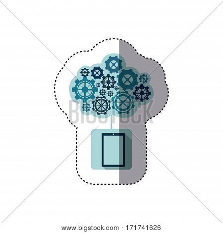 color sticker with concept of maintenance service of tablet vector illustration
