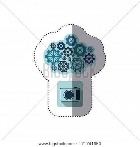 color sticker with concept of maintenance service of analog camera vector illustration