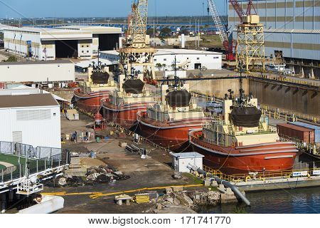 Tampa Florida - February 11th 2016: Four Identical Construction boats in dry dock for repairs February 11th Tampa Florida