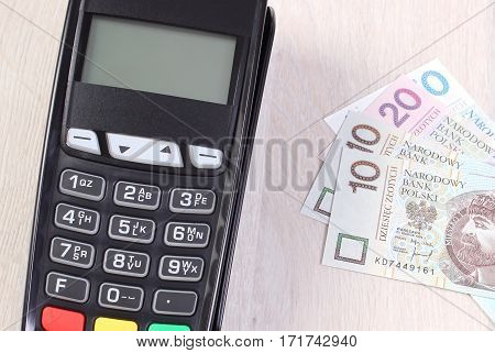 Payment Terminal, Credit Card Reader With Polish Currency, Cashless Paying For Shopping Or Products