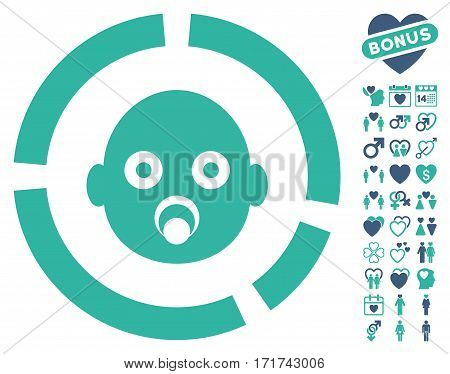 Newborn Diagram pictograph with bonus romantic pictures. Vector illustration style is flat iconic cobalt and cyan symbols on white background.