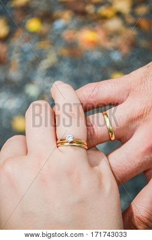Husband and wife hands with marriage wedding rings on fingers
