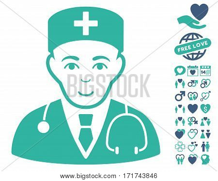 Physician icon with bonus love clip art. Vector illustration style is flat iconic cobalt and cyan symbols on white background.