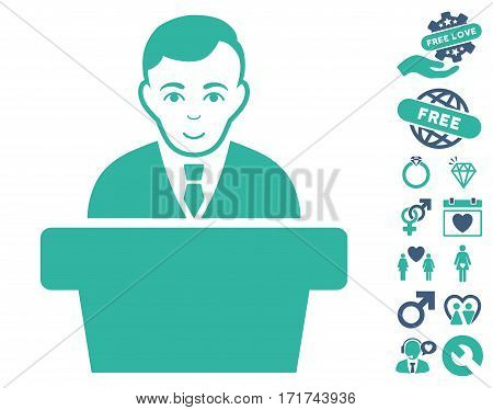 Politician pictograph with bonus passion design elements. Vector illustration style is flat iconic cobalt and cyan symbols on white background.
