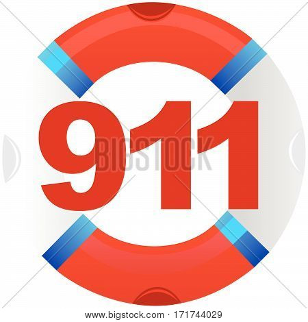 phone 911 emergency number on the background of a life buoy. The illustration on a white background.
