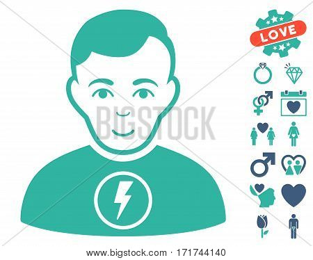 Power Man pictograph with bonus decorative clip art. Vector illustration style is flat iconic cobalt and cyan symbols on white background.
