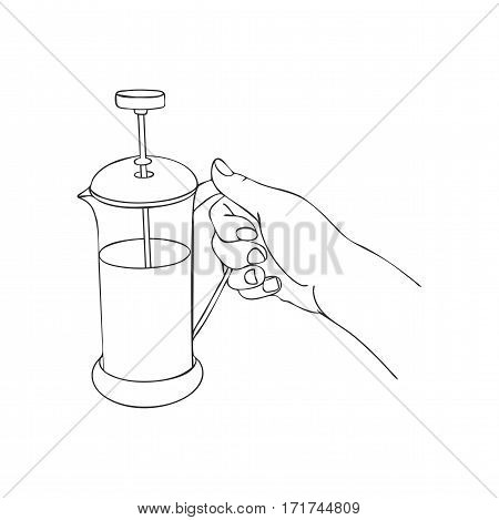 cooking hand with frenchpress, line drawing isolated symbol at white background