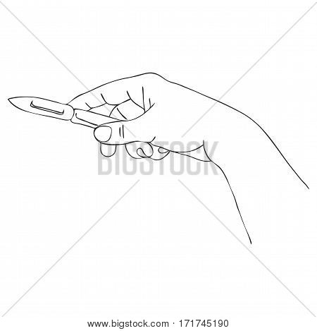 cooking hand with peel knife, line drawing isolated symbol at white background