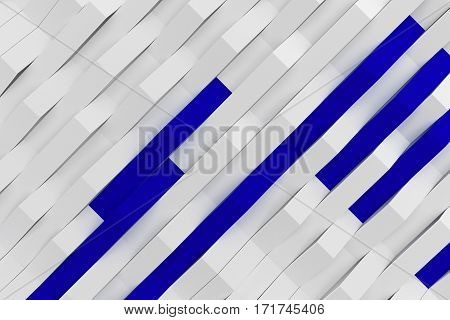 3D Rendering Of White Matte Plastic Waves With Colored Elements