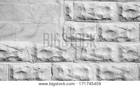 Stone wall white texture background with copy space