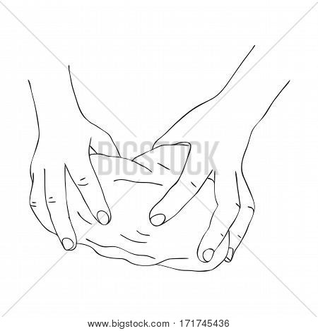 hands knead dough, line drawing isolated symbol at white background