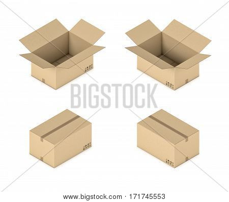 3d rendering of a carton box in open and closed state in double-sided isometric view. Goods and transportation. Post and delivery. Cargo business.