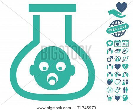 Test Tube Baby pictograph with bonus dating clip art. Vector illustration style is flat iconic cobalt and cyan symbols on white background.