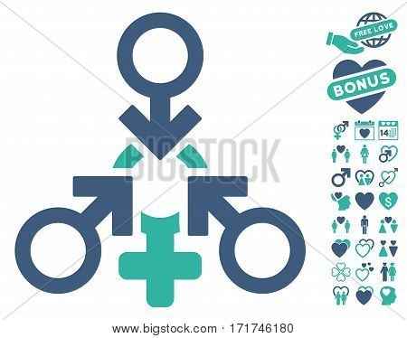 Triple Penetration Sex pictograph with bonus valentine pictograms. Vector illustration style is flat iconic cobalt and cyan symbols on white background.