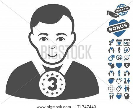 3rd Prizer Sportsman icon with bonus dating design elements. Vector illustration style is flat iconic cobalt and gray symbols on white background.