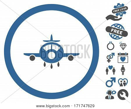 Aircraft icon with bonus amour graphic icons. Vector illustration style is flat iconic cobalt and gray symbols on white background.