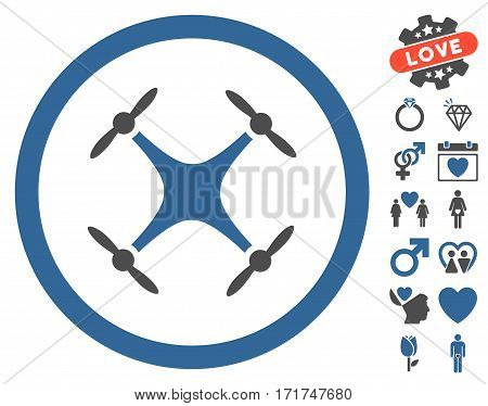 Airdrone pictograph with bonus passion pictures. Vector illustration style is flat iconic cobalt and gray symbols on white background. poster