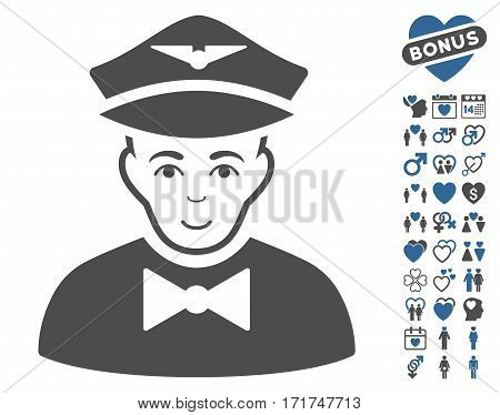 Airline Steward pictograph with bonus amour pictograms. Vector illustration style is flat iconic cobalt and gray symbols on white background.