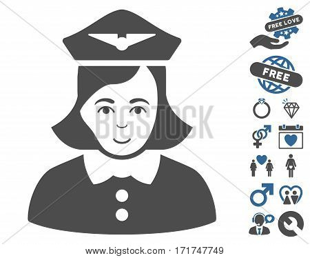 Airline Stewardess pictograph with bonus amour pictograms. Vector illustration style is flat iconic cobalt and gray symbols on white background.