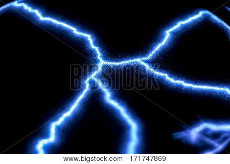 Formation of blue electrical arcs. Gas-discharge lamp.