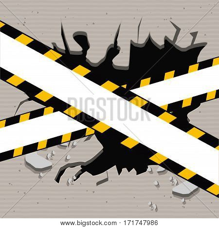 colorful realistic hole in the wall and warning tape vector illustration